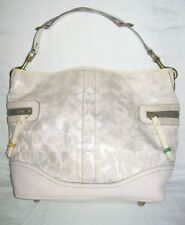 COACH Signature TIE DYE Off White & Silver SHIMMER Jacquard Hobo Bag Size M/L