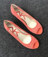 Anne Klein Sport Women's Coral Peep Toe Wedge Pumps,  SZ 9.5M