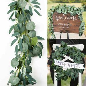6.6FT Artificial Eucalyptus Leaves Garland Vine Wedding Greenery Home Wall Decor