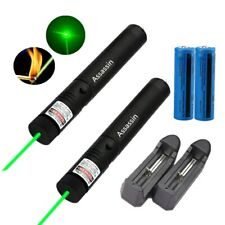 2x 990Miles Green Laser Pointer Pen Visible Beam Lazer w/ 18650 Battery+Charger