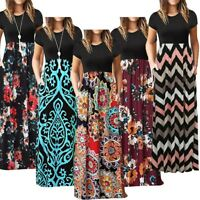 Women's Vintage Long Sleeve Floral Boho Evening Party Bodycon Long Maxi Dress