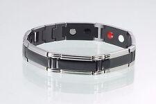 Cristor Energieband Herren Damen schwarz silber Cristor Magnetschmuck E8320BLS/1