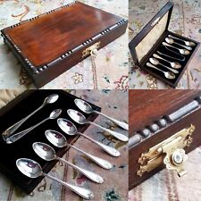 Antique (1925) Silver Plated Tea Spoons & Sugar Tongs In Original Silk Lined Box