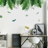 Summer Green Leaf Wall Sticker Background Living Room Art Decals Home DIY Decor