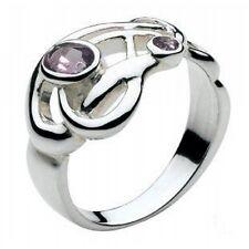 Solid Silver Celtic Art Nouveau Amethyst Stone Ring Celtic Jewellery Size L-Q