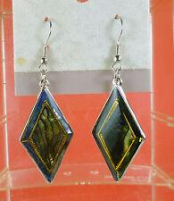 Vint Rainbow New Zealand Paua Abalone Shell Diamond n Diamond Shape Earrings T8