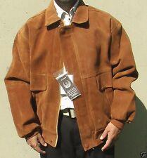 New Italian Leather Tan Brown Jacket Men Siz XL Camoscio GA Textile Group X-L
