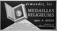 PUBLICITÉ DEMANDEZ LES MÉDAILLES RELIGIEUSES SIGNÉES A . AUGIS