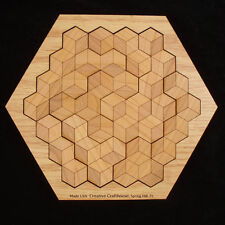 Hexagon 10 wood brain teaser puzzle - in hexagon frame- alder wood, made USA