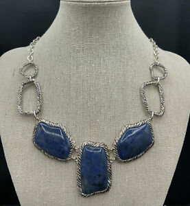 Barse Wrapture Statement Necklace-Dumortieurite- Silver Overlay- NWT