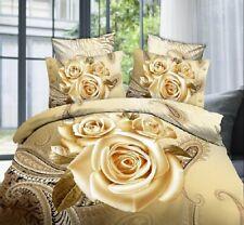 3D Bedding Set Luxury Golden Rose Printing 4-Piece Cotton Duvet Cover Sets