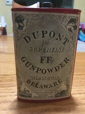 Dupont Superfine FF Gunpowder Old Can Tin Black Powder Indian Delaware 1924