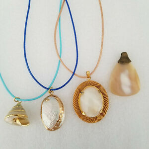 Lot 4 Beach Necklaces Shell Pendants Charms White Gold Nautical Sea Seashell