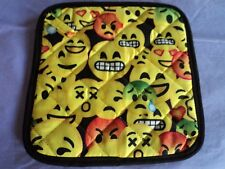 New listing 2 Handmade Pot Holders - Colorful Yellow Emoji'S - 100% Cotton, Quilted, Lined
