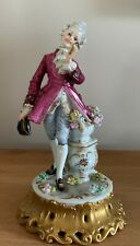 Capodimonte Porcelain Vier Tasca Figure Of Young Gentleman With Delicate Flowers