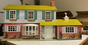 Vintage Metal Tin Litho Two-Story Colonial Dollhouse w/Garage plus Furniture