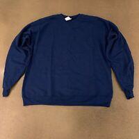  Hanes Men's Size Large Navy Blue EcoSmart Fleece Crew Neck Sweatshirt