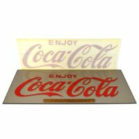 "Vintage ""ENJOY COCA-COLA"" WINDOW DECAL New-Old-Stock RED VINYL STICKER 28x9 NOS!"