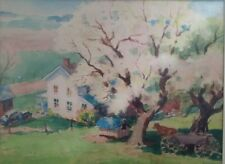 VINTAGE PAINTING OF BUCOLIC OHIO FARM SCENE BY LISTED ARTIST CHARLES P. ZOLLARS!