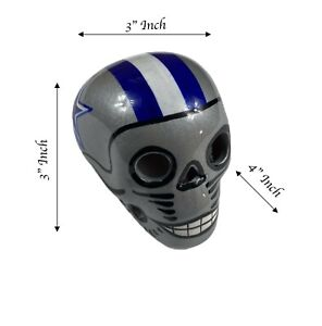 DALLAS COWBOYS Skull Helmet Ceramic Mexican Clay Figure, Hand made/Painted 3''