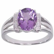Diamond Natural Amethyst White Gold Fine Rings