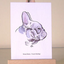 French Bulldog ACEO Art Card of oil and charcoal Frenchie drawing