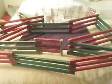 Two Antique Wood Christmas Red And Green Fencing