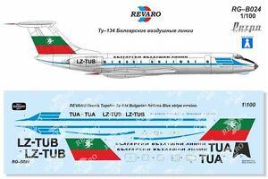 Revaro Decal Tu-134 Bulgarian Airlines Blue Stripe Veb Plasticart 1/100
