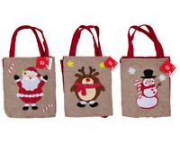 Jute HESSIAN CHRISTMAS Bag With HANDLES Kids Xmas Santa Stocking Gift Sack