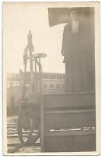 Woman Standing on Railroad Passenger Car Stoop ~ RPPC Real Photo c.1915