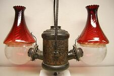 Gwtw Victorian Antique Bronze Arts Crafts Glass Kerosene Oil Angle Hanging Lamp