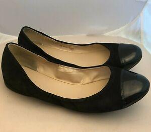 Cole Haan Black Ballet Flats Suede Patent Leather Toe Women's Size 10 B 40.5 EU