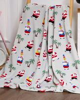 NEW Ultra Cozy & Soft Christmas Holiday Tropical Santa Plush Warm Throw Blanket