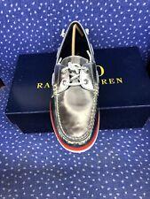 Polo Ralph Lauren Merton Silver Metallic Leather Boat shoes Men's 13 D