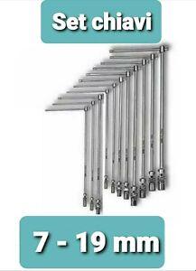Serie 11 Chiavi A T Esagonali Con  Snodo  acciaio con t scorrevole da 7 a 19mm