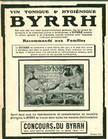 Publicité ancienne Byrrh recommandé 1908 issue de magazine