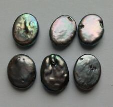 6 Iridescent Grey Freshwater Pearl Oval Beads. 10mm Jewellery/Crafts