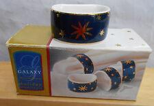 SAKURA GALAXY BLUE NAPKIN RING HOLDERS 4 PC BOX STARS GOLD HOLIDAY NEW