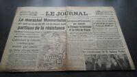 """""""El Diario"""" Edition De 5 Horas Antiguo N º 17307 Sábado 9 Mars 1940 ABE"""
