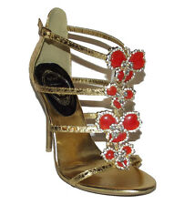 New Gold Orange Ankle strap HIGH HEEL strappy jewel Rhinestone open Sandal  8