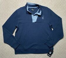 New Mens Spyder Quilted Pop Collar Pullover Jacket Blue Ski Sz L $149