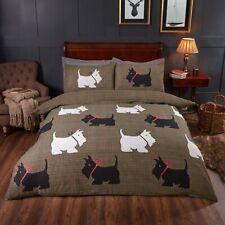 Hamish Scottie Dog Tartan Check Double Bed Duvet Quilt Cover Bedding Linen Set