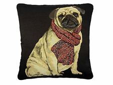 """CUTE PUG DOG SCARF TAPESTRY COTTON VELVET BLACK RED GOLD CUSHION COVER 18"""" 45CM"""
