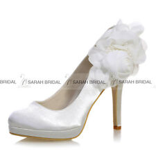 Round Toe Platform Pumps High Heels Wedding Evening Stiletto Satin Shoes Flower