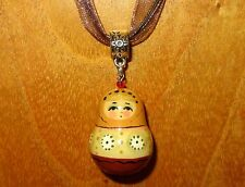 Genuine Russian MINIATURE Doll hand made PENDANT Cream Brown Matryoshka Ryabova