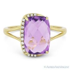3.44ct Cushion Cut Amethyst & Diamond Right-Hand Fashion Ring in 14k Yellow Gold