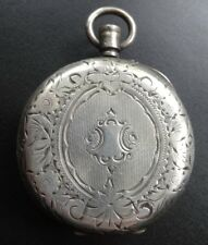 antique Victorian SILVER glass cover watch holder memento locket pendant -C826
