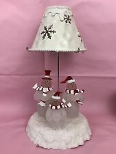 Caroling Snowmen Frosted Tea Light Candle Lamp Holiday Display Gift Collectible