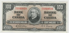 BANK OF CANADA 1937 ONE HUNDRED DOLLAR NOTE B/J 3349058 NICE CRISP NOTE