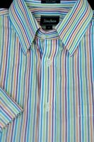 Neiman Marcus Men's Summer Colorful Stripe Cotton Casual Shirt L Large